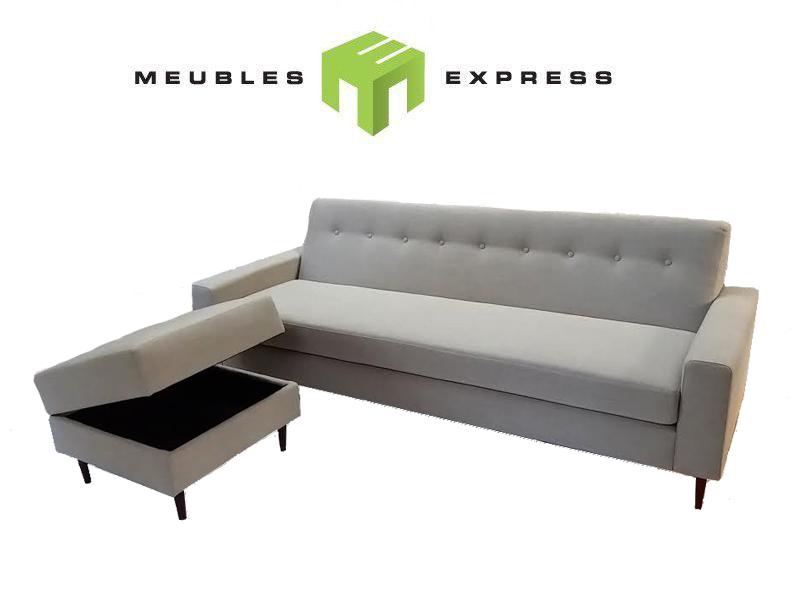 sofa et pouf ouvrant sur mesure meubles express. Black Bedroom Furniture Sets. Home Design Ideas